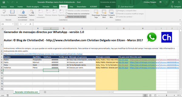 Excel generador de mensajes de WhatsApp