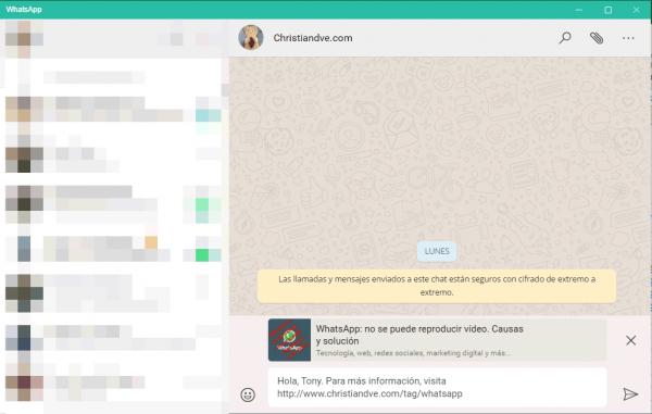 Envío por WhatsApp desde Excel un mensaje con enlace