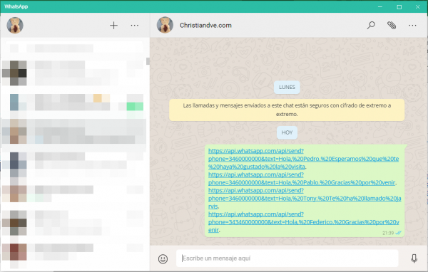 Pegar múltiples direcciones en WhatsApp web