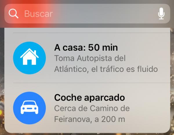 Widget en la pantalla de bloqueo indicando dónde está el coche aparcado