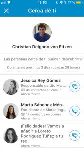 Cerca de ti de LinkedIn detecta a más usuarios de LinkedIn en los alrededores