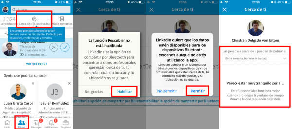 Activar Cerca de ti en LinkedIn en iPhone/iPad