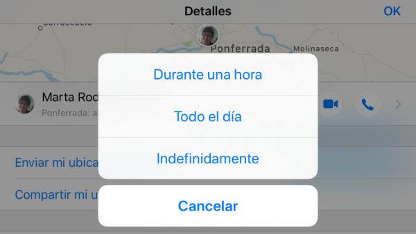 iMessage permite compartir la ubicación en tiempo real