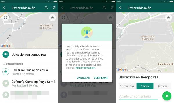 Compartir ubicación de WhatsApp en tiempo real en Android
