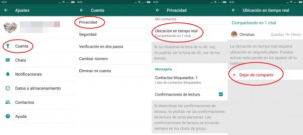 Cómo saber si estás compartiendo tu ubicación en tiempo real por WhatsApp para Android