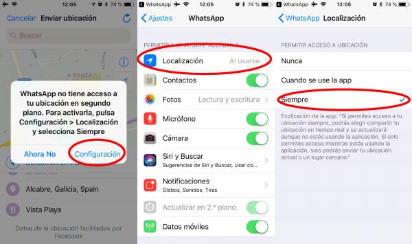 Autorizar ubicación en tiempo real de WhatsApp en iPhone