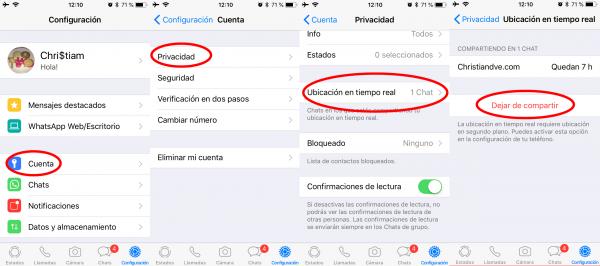 Revisar con quién se comparte la ubicación en tiempo real en WhatsApp para iPhone