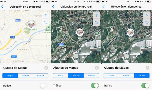 Ubicación en tiempo real de WhatsApp en el mapa, híbrido y satélite