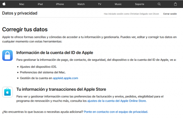 Corregir tus datos en Apple