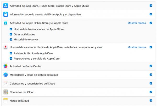 Datos que tiene Apple: selección para su descarga