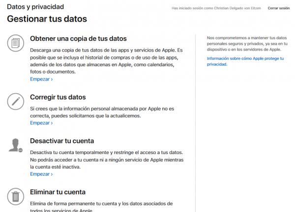 Gestionar los datos personales en Apple