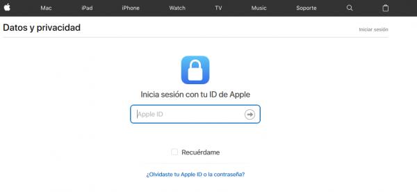 Iniciar sesión en el apartado de privacidad de Apple