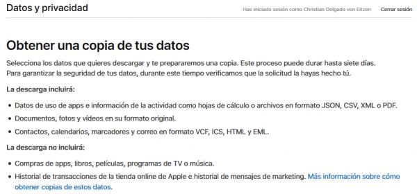 Cómo obtener una copia de tus datos de Apple
