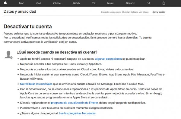 Cómo desactivar o suspender temporalmente la cuenta de Apple