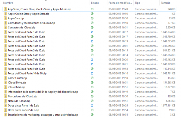 Lista de ficheros de datos de Apple