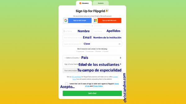 Cómo crear una cuenta en FlipGrid