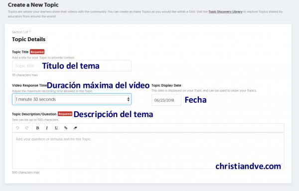 """Cómo crear un """"topic"""" en FlipGrid y opciones"""