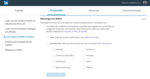Descargar los datos de tu cuenta de LinkedIn