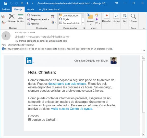 Correo de LinkedIn: ¡tu archivo completo de datos de LinkedIn está listo!