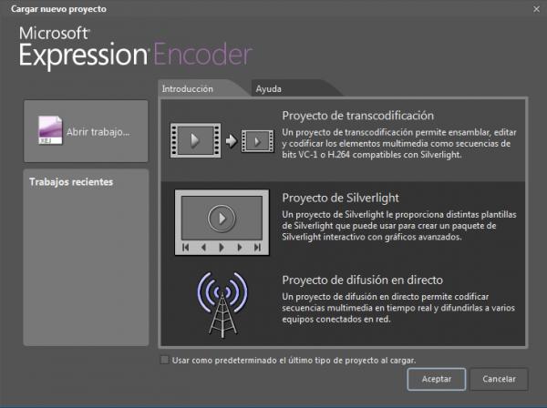Microsoft Expression Encoder > Inicio