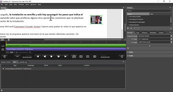 Microsoft Expression Encoder con contenido de la pantalla y webcam
