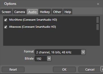 Opciones de Expression Encoder: Audio