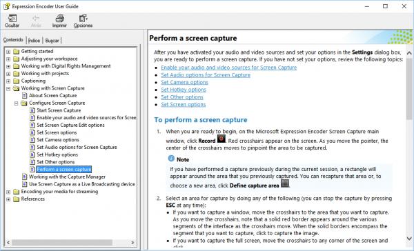 Opciones de Expression Encoder: Ayuda
