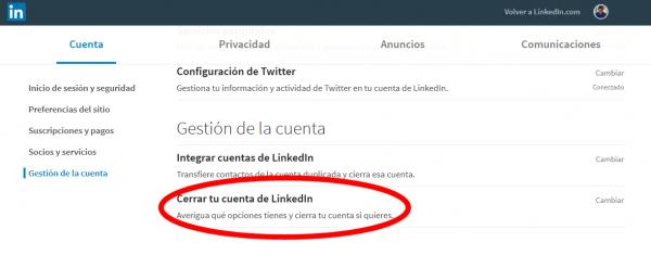 Cerrar cuenta de LinkedIn