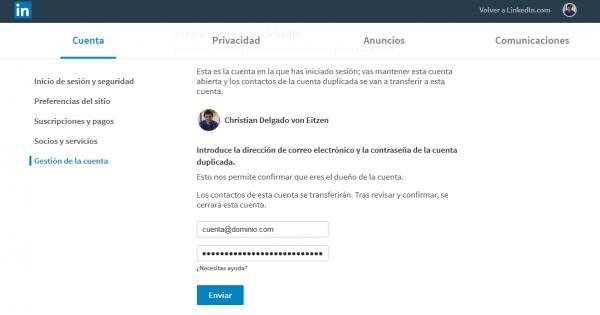 Datos de acceso de la cuenta que quieres fusionar con la actual en LinkedIn