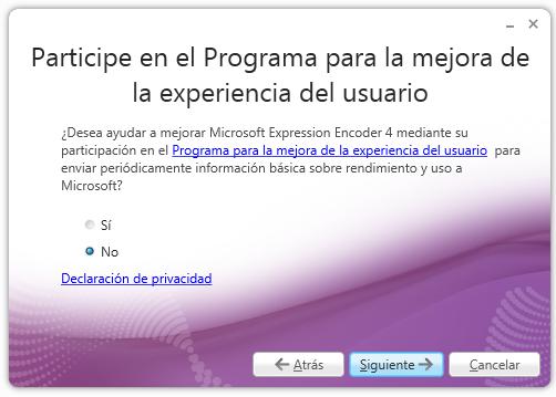 Programa de mejora de la experiencia del usuario - Expression Encoder