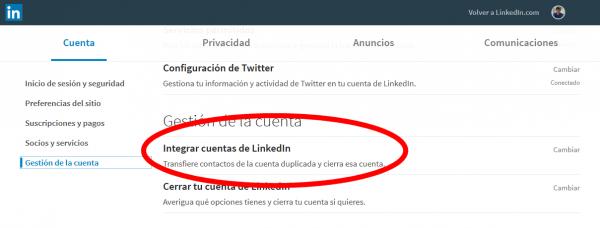 Integrar o fusionar cuentas de LinkedIn