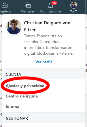 Ajustes y privacidad en LinkedIn