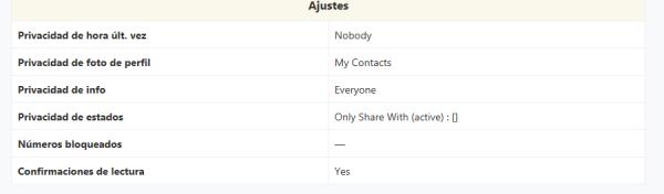 Ajustes de privacidad y otros en mi cuenta de WhatsApp
