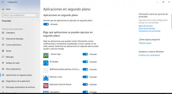 Desactivar las aplicaciones en segundo plano