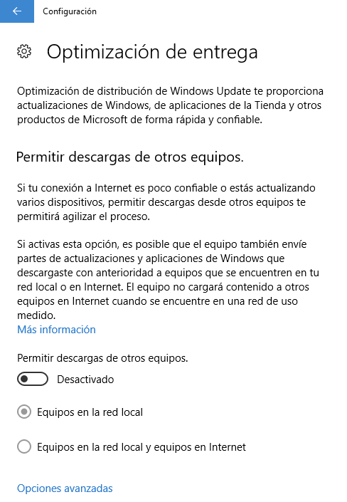 Revisar la optimización de entrega de Windows Update para ahorrar datos móviles en Windows 10
