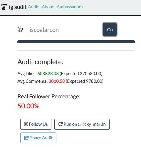 Porcentaje de followers reales según IG Audit de Isco Alarcón