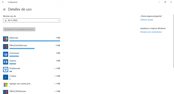 Ver el uso de datos por programa en Windows 10