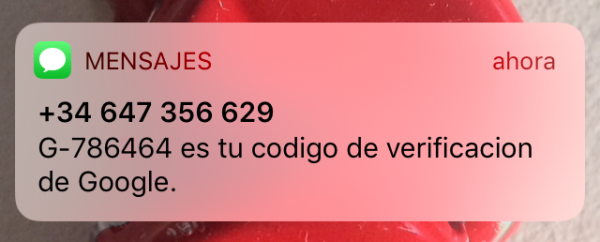 Código de verificación de Google por SMS