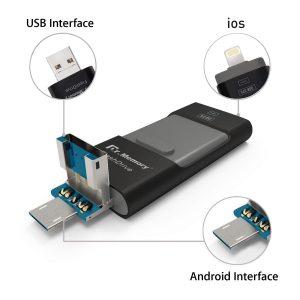 Memoria USB con 3 conectores: USB, lighting (iPhone, iPad) y USB Android