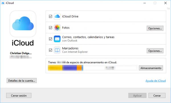 Panel de control de iCloud en Windows