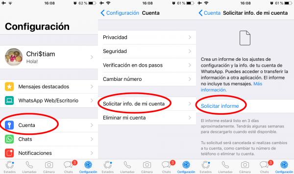 Cómo solicitar la información de la cuenta de WhatsApp en iPhone