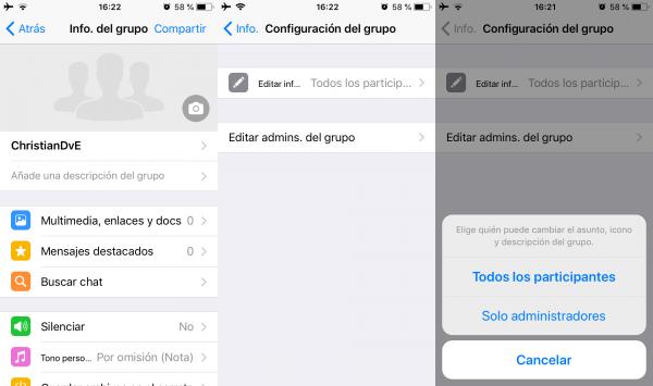 Configurar quién puede cambiar la descripción, la imagen o el asunto de un grupo de WhatsApp
