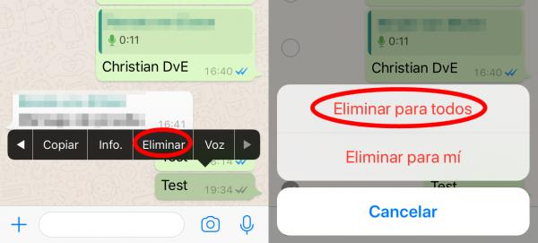 Cómo eliminar mensajes de WhatsApp una vez enviados