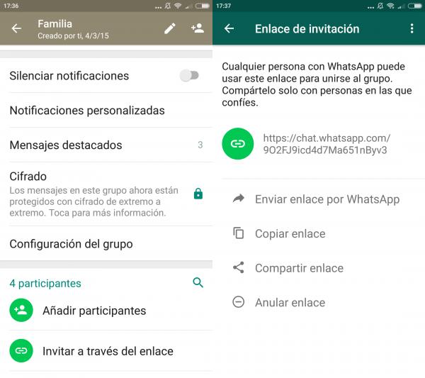 Cómo crear un enlace para invitar a personas a un grupo de WhatsApp en Android