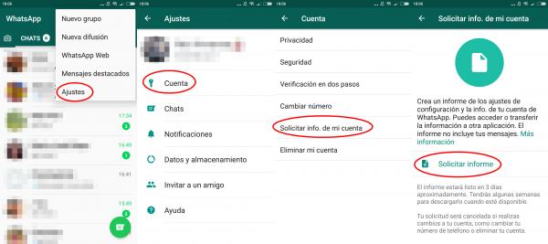 Cómo solicitar la información de la cuenta de WhatsApp en Android