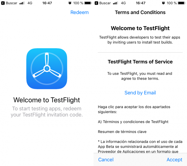 App de TestFlight para iPhone