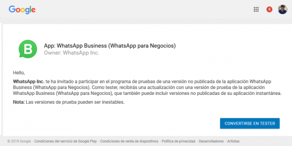 Cómo darse de alta como beta tester de WhatsApp Business para Android