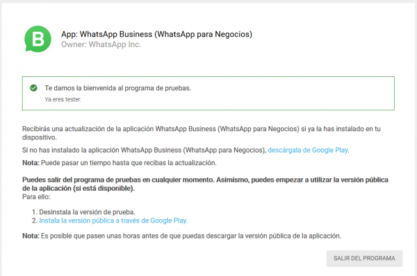 Alta en el programa de WhatsApp Business para Android