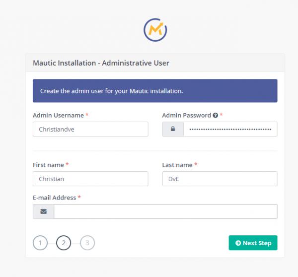 Instalar Mautic paso 2: introducir usuario y contraseña para el panel de control (y dirección de correo electrónico)