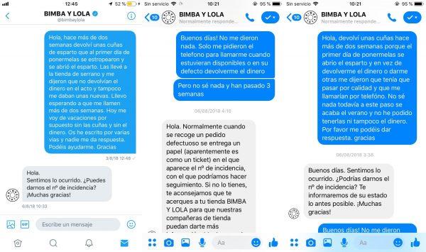 Atención (o desatención) al cliente de Bimba y Lola 1